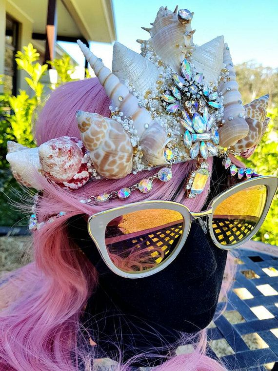 Hand made and one of a kind mermaid crown made with beautiful and rare seashells. One size fits all with thick white elastic at the back that hair will cover. Please email for international shipping quotes