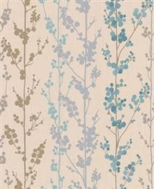 Graham and Brown Easy Serenity Wallpaper - Berries Teal 30-254