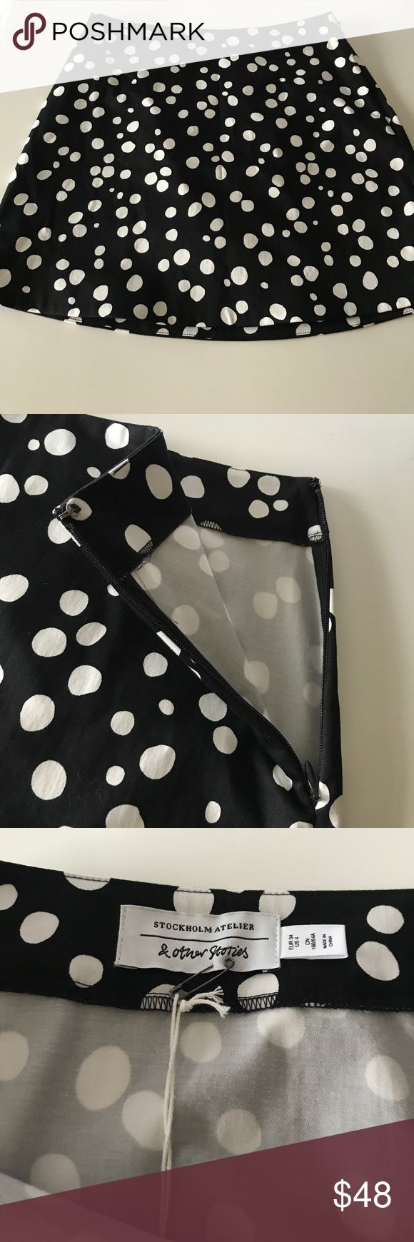 NWT: & other stories 🦋 New with tags & other stories. Size 4. Cute black-and-white polkadot pattern. No inner lining. Size is it and clasp closure. Can be worn by itself or with leggings. Very cute and fun piece🦋🦋 & other stories Skirts Mini