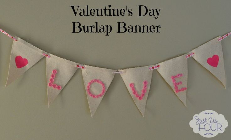 Valentine's Day Stenciled Burlap Pennant Banner - Just Us Four #valentinesday #crafts