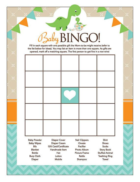 Instant Download Dinosaur Baby Shower Bingo by Studio20Designs
