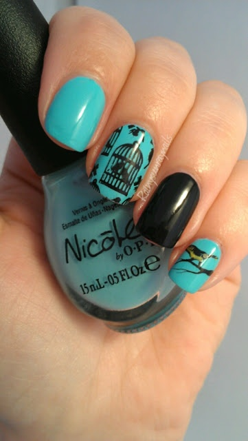 rainysunraynails: Feathered Friends Mani/Pedi. Bird Nail Art #birdmanicure #birdnailart #nicolebyopi #opi #birdcage #goldfinch #nailart #cutenailart #2013cheekyplates #nailstamp