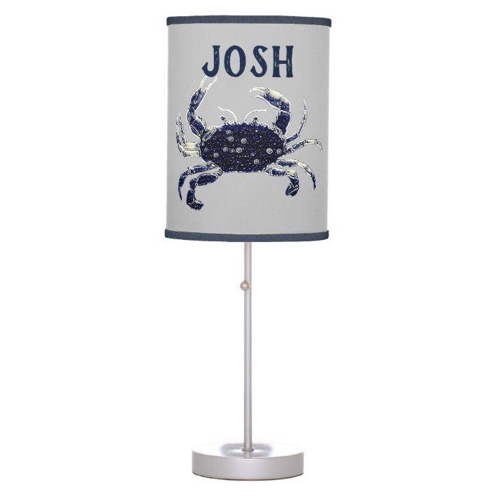 Cute Blue Crab Beach Personalized Table Lamp Zazzle Com Lamp Decor Table Lamp Lamp