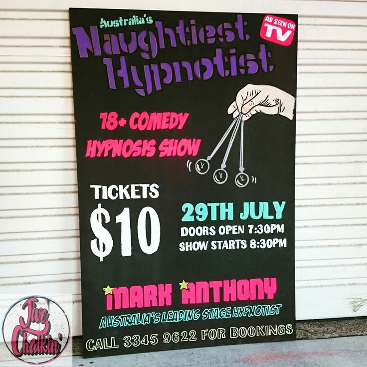 A chalkboard promoting a Hypnosis show coming soon to the Runcorn Tavern.