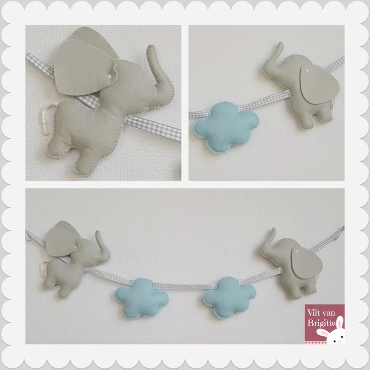 Handmade elephants wall hanger. two elephants and two clouds. Super cute for the baby's room, this wall hanger, there is only one. Made in the Netherlands. #Babylove #Babyroom #Babydecor