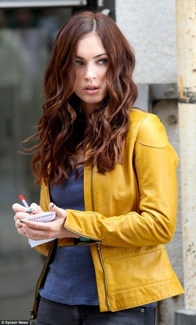 Pretty Megan Fox and a mustard-yellow leather jacket