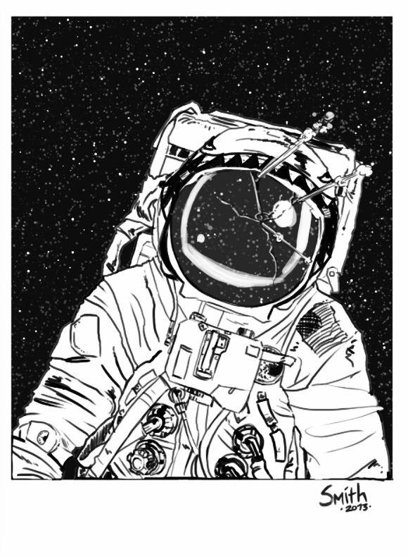 Astronaut on the moon drawing