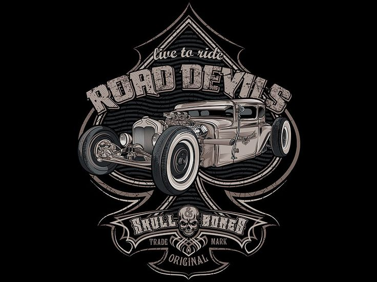"""«Road devils» Vector illustration. Artwork series of hot rod. Illustration of the print for t-shirts. The client """"Reya"""" studio. The work is done in programs Adobe Illustrator."""