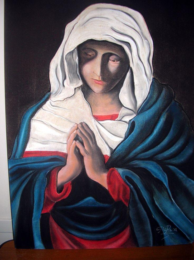 Madonna Orante  Gesseto su tavola 60X80