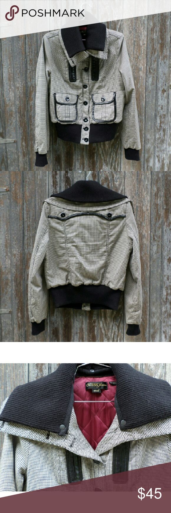 Guess jeans jacket bomber with knit collar