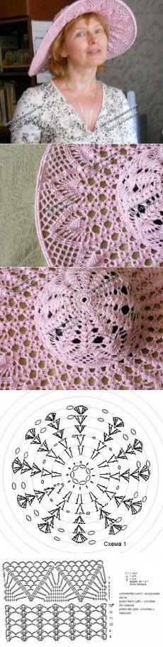 Розовая шляпа, связанная крючком  , работа Татьяны Беленькой.