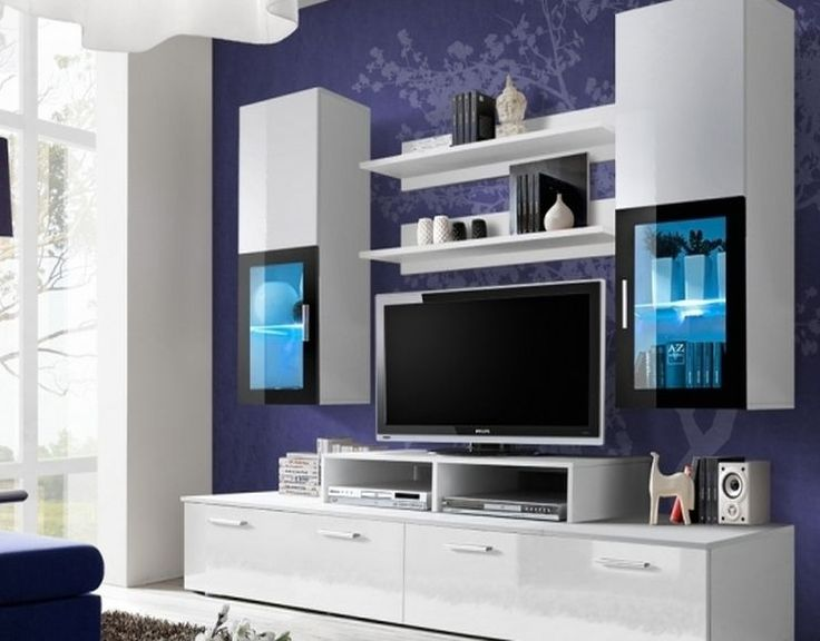 European Modern White Wall Units with Center TV Stand and Glass Shelves LED lights