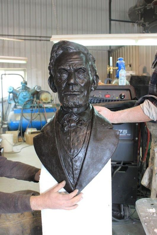 """Heather and Little was commissioned  to create a replica bronze statue of Abraham Lincoln with the """"Lincoln Boys"""" Lincoln's presidential assistants."""
