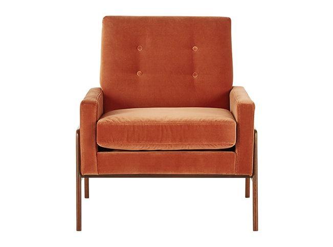 Cecil, fauteuil, velours orange brûlé