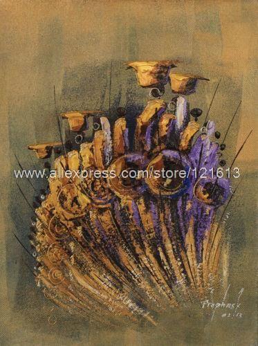 Pintura expresionista africana bellas éxodo hechos a mano Ghana pinturas al óleo lienzo pintura arte Pop de la sala pared imprime Restauran(China (Mainland))