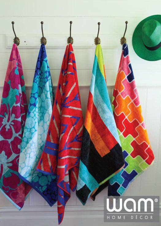 Beach towels for the lazy day by the water. Opulent beach towels for both kids and adults www.wamhomedecor.com.au