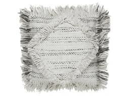 Saskia Fringe 50x50cm Cushion in Grey Fringe