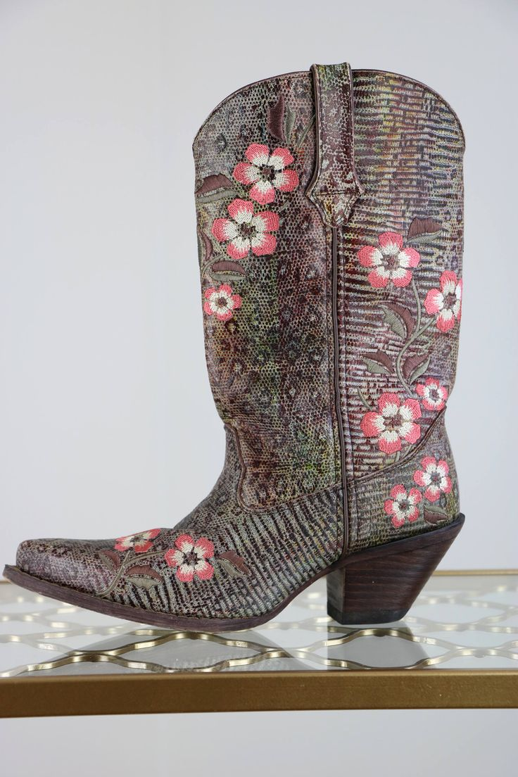 """Durango Floral Embroidered Cowboy Boots Faux Snakeskin Cowboy Boots Size 7 US Leather Upper Brown Pink White 2.5"""" Heel by VintageBySuzanne on Etsy"""