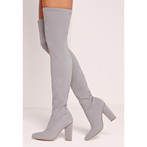 Pointed Toe Neoprene Over The Knee Boot Grey ($10) ❤ liked on Polyvore featuring shoes, boots, over knee boots, thigh high boots, pointed toe boots, gray boots and pointy toe thigh high boots