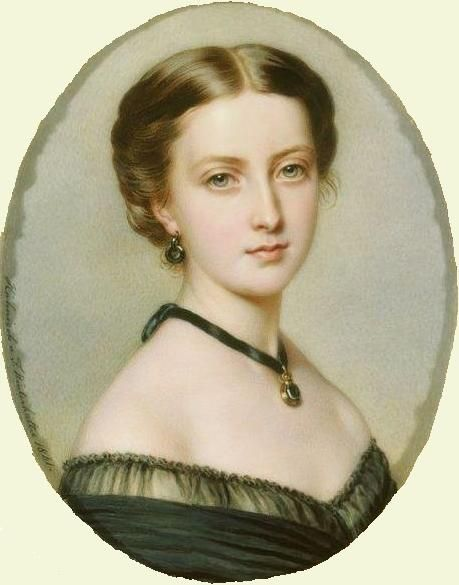 Princess Helena, 1861. In the Royal Collection. A beautifully detailed picture showing a black evening dress and tucker, as well as earrings and a pendant on a ribbon. [All probably mourning for Prince Albert.] Her hair is drawn back smoothly and rolled at the sides.