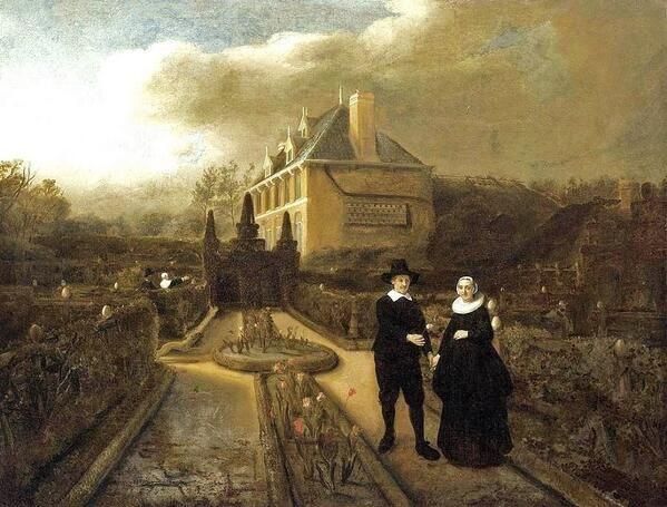 1647 Garden - Samuel Van Hoogstraten Portrait of Johan Cornelisz. Vijgeboom & His Wife