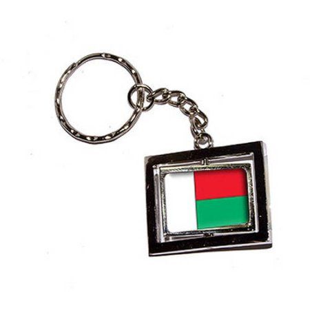 Madagascar Country Flag New Keychain Ring, Silver