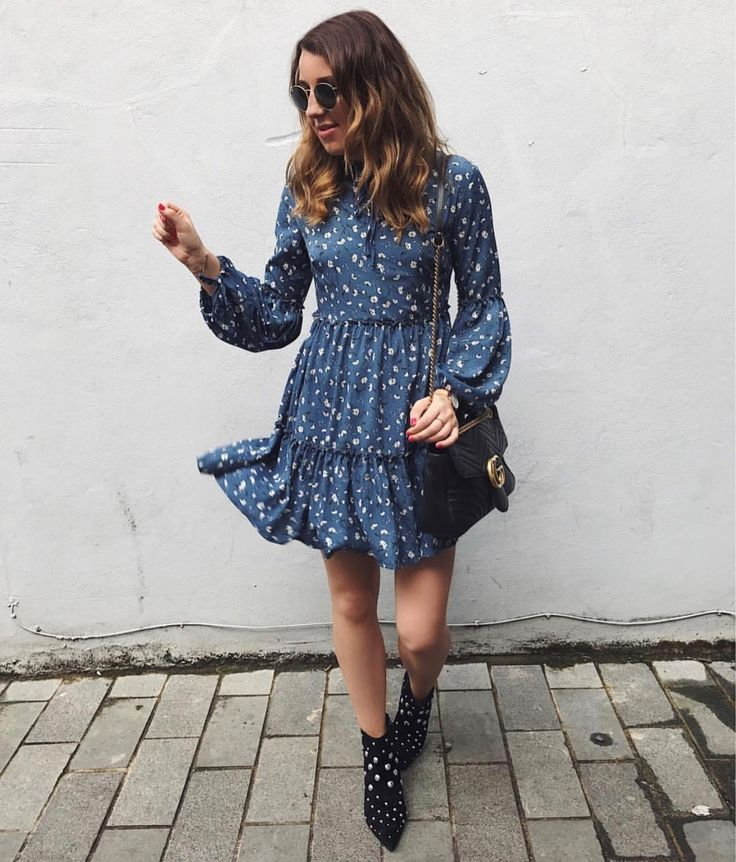 • Dark Blue Ditsy Floral Print Smock Skater Dress•