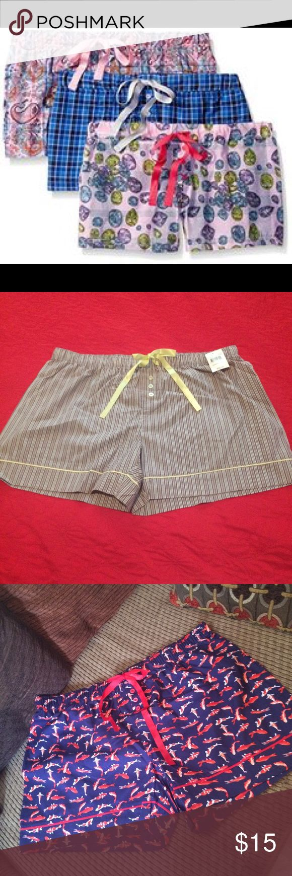 Bottom Out Gal ladies woven 3pk sleepwear boxers - Not the same design of the cover photo  - 3 pairs of cute shorts to sleep - size large  - stretchable  - has a cute ribbon Shorts