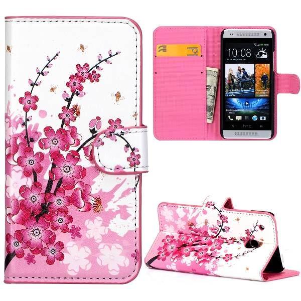 Roze bloem lederen booktype hoesje voor HTC One mini