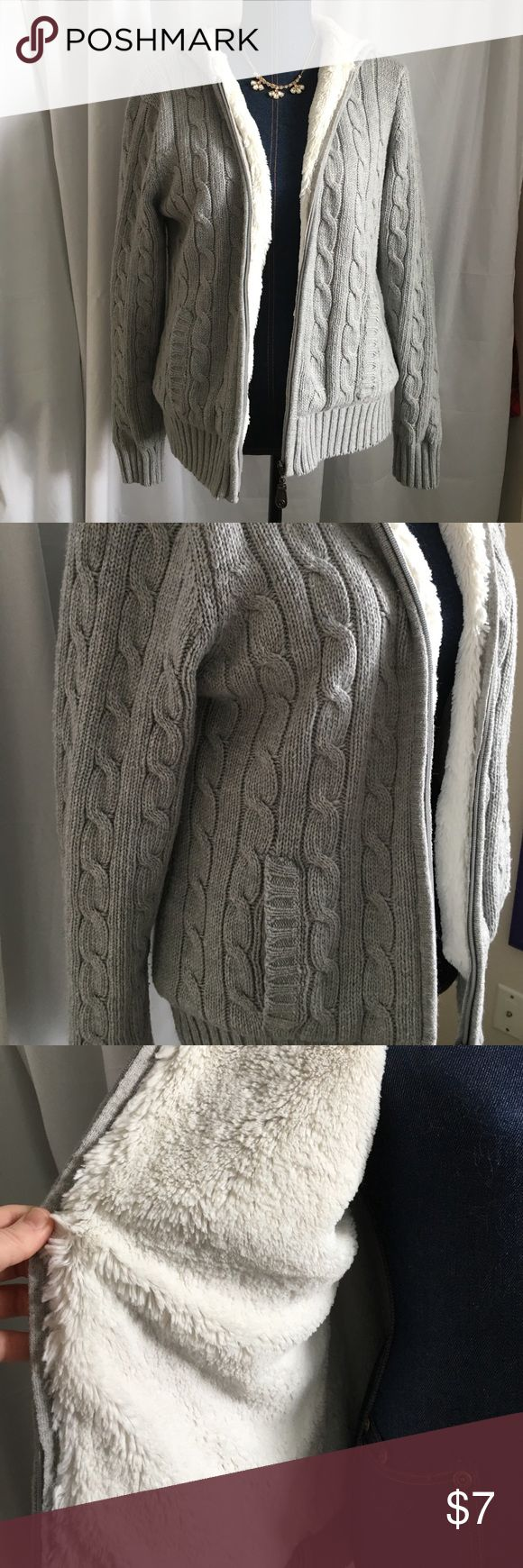 Fuzzy Lined Full Zip Cable Knit Jacket Good condition pre-loved sweater jacket by green tea brand. Has pilling but in good condition- price reflects this! No stains, pulls or tears. Non-smoking home. Measures: 21x25 green tea Jackets & Coats Puffers