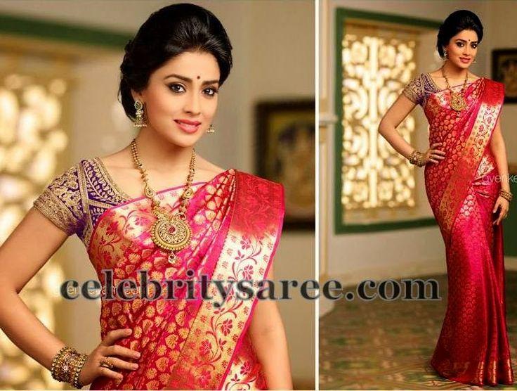 Shriya Saran Brocade Silk Saree