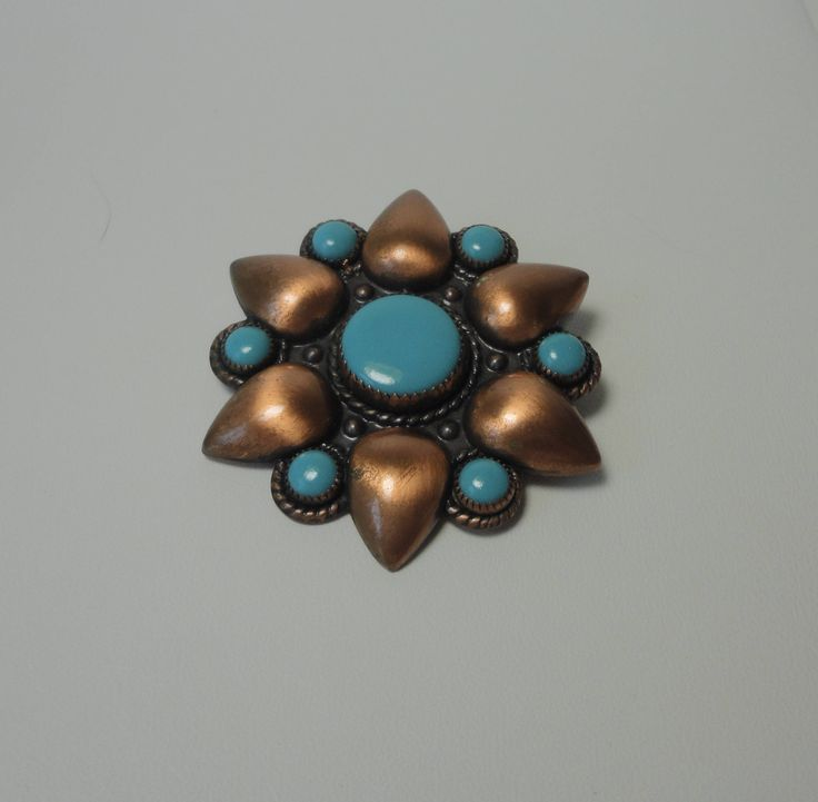 Bell Trading Company Cooper with Turquoise Color Cabs  Brooch/Pin. by Cosasraras on Etsy