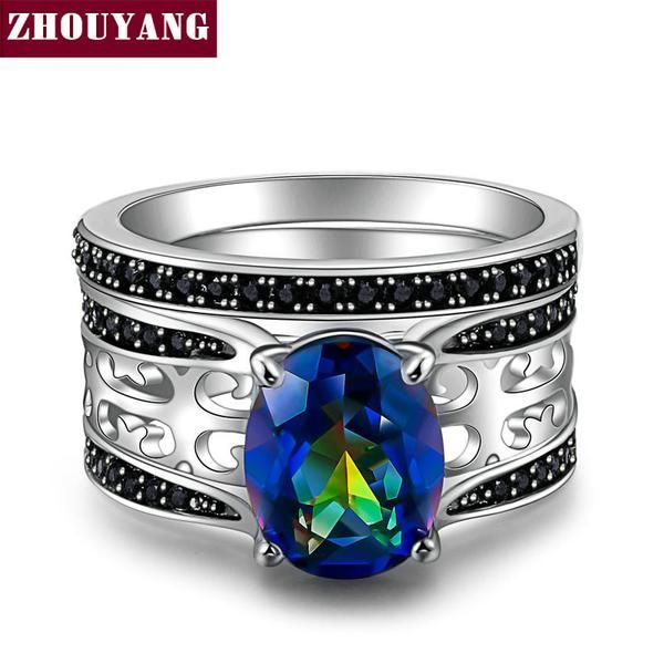 FuzWeb:New Design Colorful Oval Rainbow Stone Silver Color Jewelry Ring For Women Party Wholesale Top Quality DD046