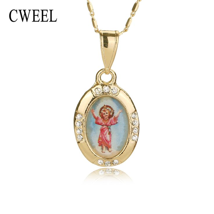 Women Men Cross Jesus Necklace Beads Jewelry Trendy 18K Real Gold Plated Pendant Sets For Vintage. Click visit to buy #PendantNeklace