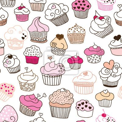 Vinilo Patrón Seamless cupcake ilustración en vector