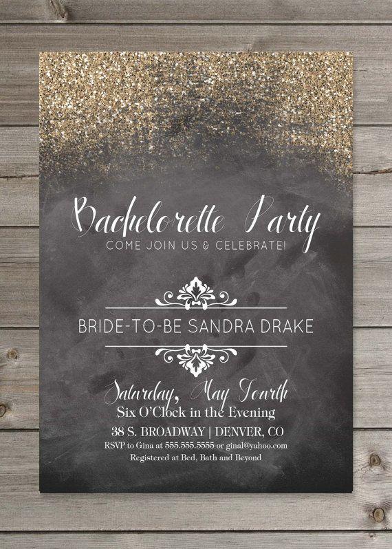 Party Invitation Chalkboard Glitter PRINTABLE by GaiaDesignStudios, $16.00
