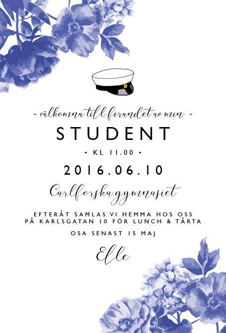 Studentkort Blå blom - Inbjudningskort till studentfirande från Anna Göran Design