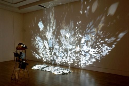 Potentially great transformation of mirror mobiles we're planing to use in Part One, Scene One. Mirror Projection- could make a great backdrop. Maybe with light and projection, we could transform this scene into the night sky with stars…