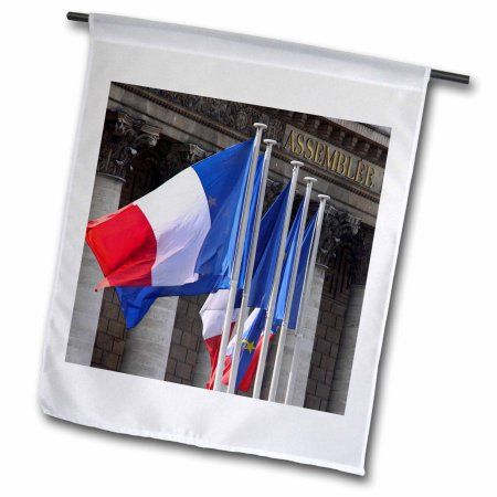 3dRose French flags, National Assembly, Paris, France - EU09 WSU0035 - William Sutton, Garden Flag, 12 by 18-Inch