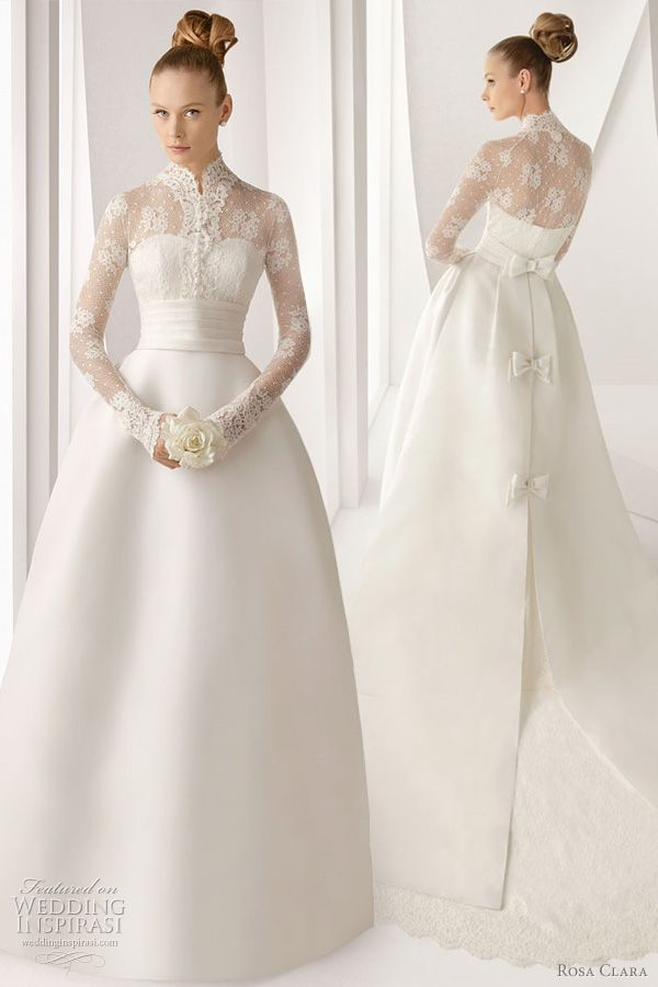 THIS IS THE ONE.  Rosa Clara 2012 Advance bridal collection. Adorno silk gazare gown with three sweet bows at the back and beautiful long sleeve lace jacket.