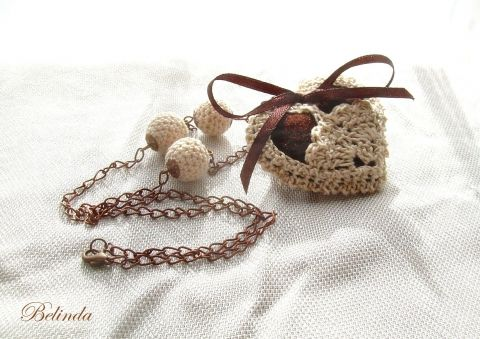 Grandma's heart - necklace - crochet balls and hearts, meska.hu