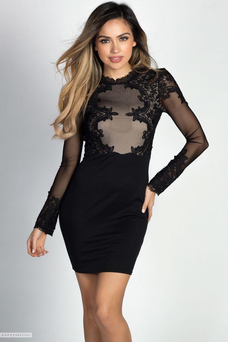 Black dress lace sleeves -  Rosalba Black Lace Mesh Bodice Long Sleeve Cocktail Dress