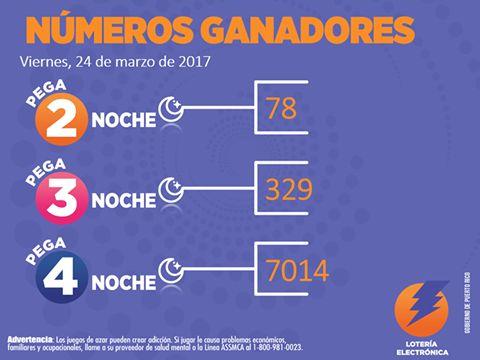 Numeros Ganadores Pega Noche del Viernes 24 Marzo 2017 [Loteria Electronica]