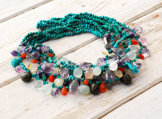 Turquoise Cluster Necklace Chunky Multi Strand by SunSanJewelry