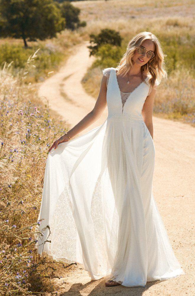 Rembo styling — Kollektion 2017 — Faune: Sehr bequemes Jersey Kleid mit feiner Spitze und Boho Rock.