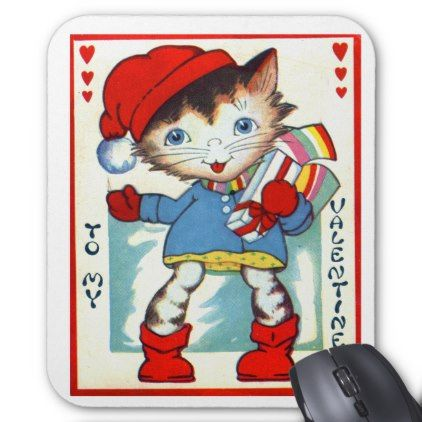Vintage Old Valentine Little Kitten Cat Mouse Pad - cat cats kitten kitty pet love pussy