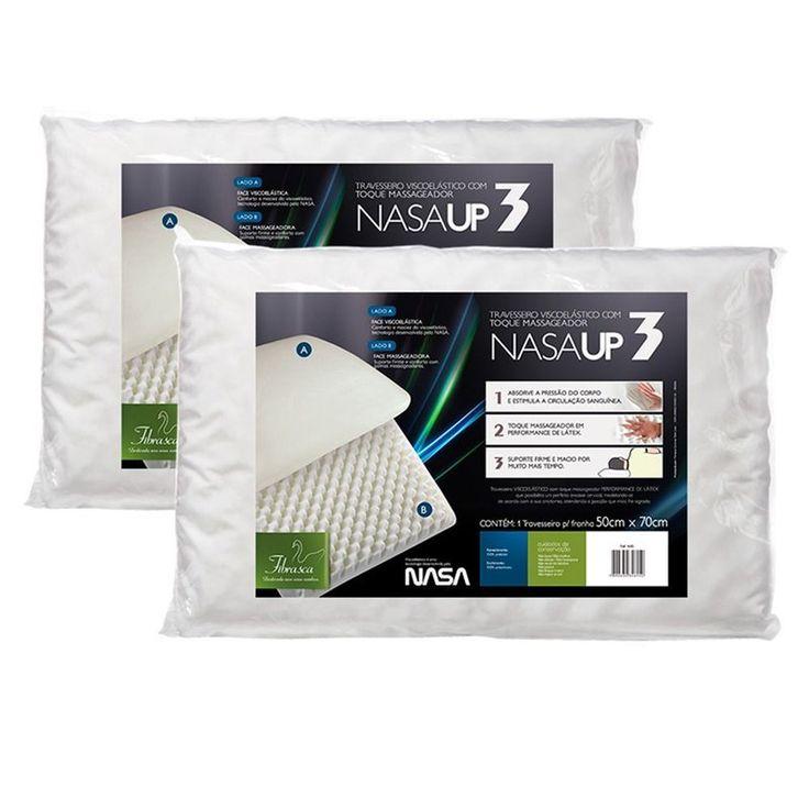 Seus travesseiros devem ser trocados de tempos em tempos. Aproveite essa oferta: kit-travesseiros-nasa-up3-gomos-massageadores-viscolastico-fibrasca - Casa da Kite