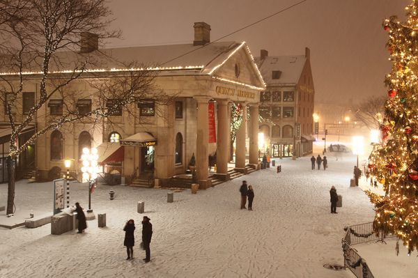 Boston's Quincy Market at Christmastime - I'll have to get back to visit Megan in the winter