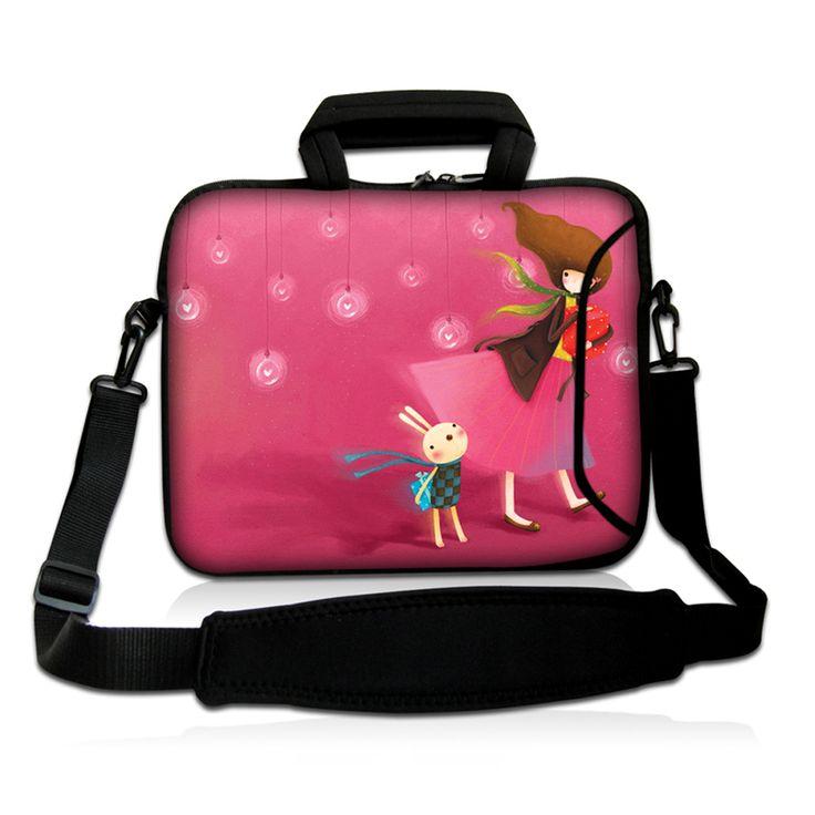 Pink Girl Notebook Shoulder Messenger Bag Cases For 10 12 13 14 14.4 15 16 17 Inch Neoprene Laptop Bags & Cases + Shoulder Strap