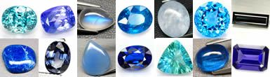 The classic blue gemstone is sapphire. Deeply saturated blue is also found in spinel and kyanite. There are a number of choices in the lighter blues, including topaz, zircon and aquamarine. Tanzanite and iolite are more of a violet blue, while Paraiba tourmaline, apatite and fluorite tend to be blue-green.
